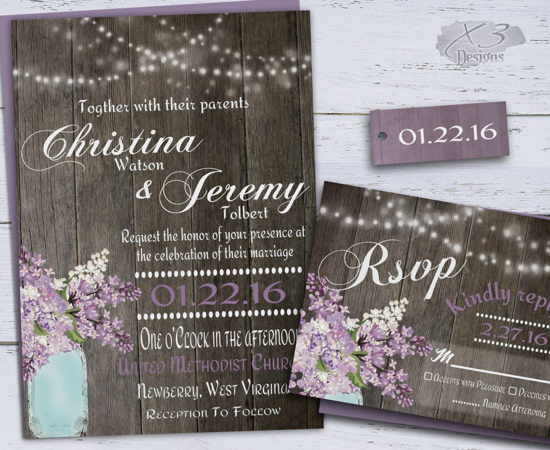 mason jar wedding invitations Rustic Wedding Invitation Country Mason Jar Wedding Invitations String Lights Purple Spring Lilacs
