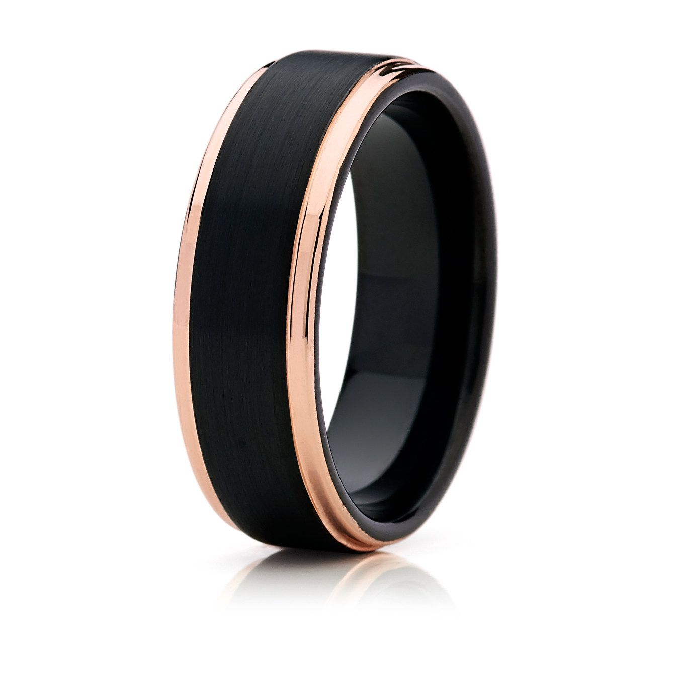 mens titanium wedding band Black with Rose Gold Tungsten Mens Wedding BandTungsten Wedding BandTungsten Wedding RingTungsten Unisex Band Anniversary Ring