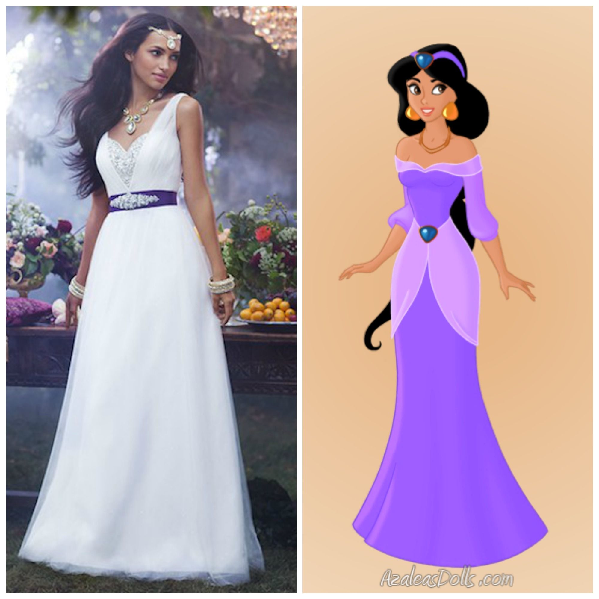 princess style wedding dress Disney Princess Jasmine Wedding Dress