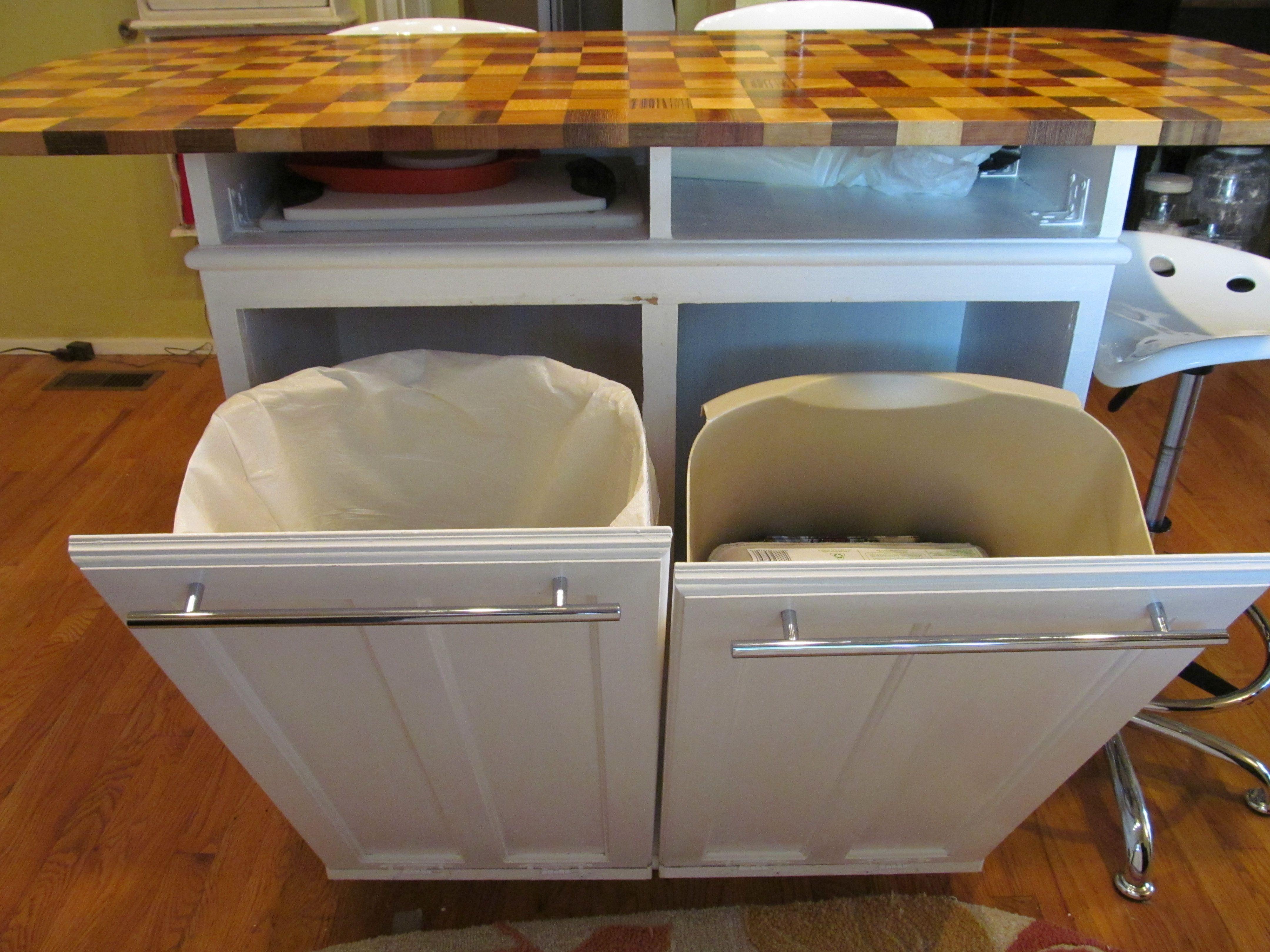 kitchen island with storage cabinets cabinets for kitchen island Kitchen Island Trash Bins Pinterest