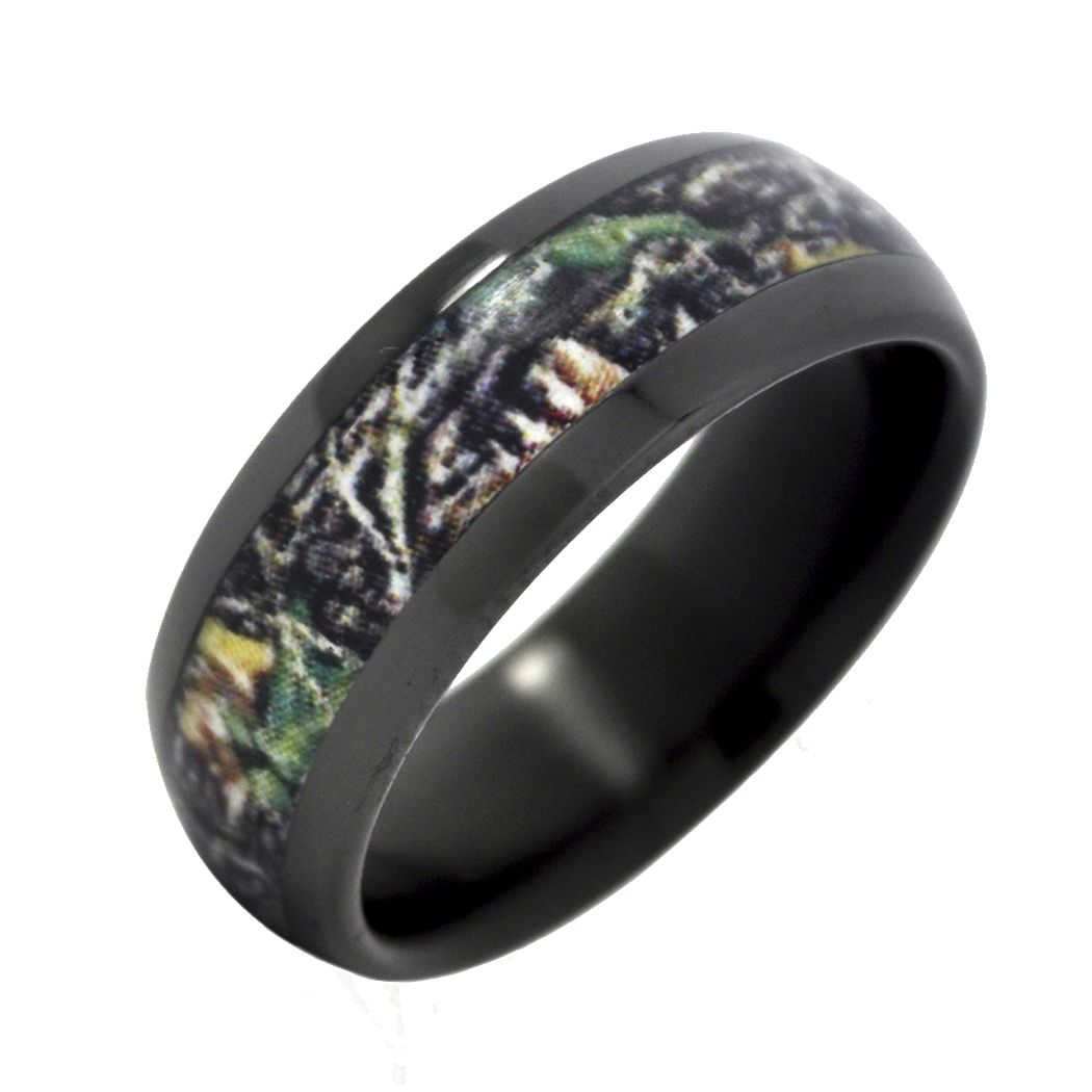 camo wedding bands Fable Designs Black Zirconium with Mossy Oak New Break up Camouflage Inlay Wedding Band