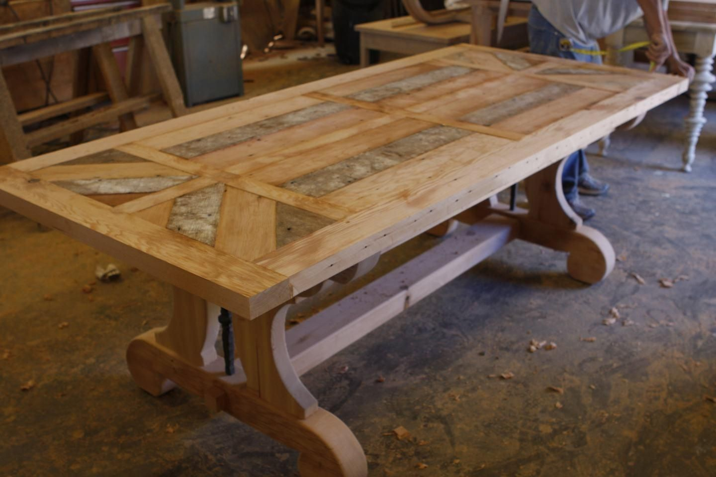 kitchen table with leaf Custom Trestle Dining Table With Leaf Extensions Built In Reclaimed Wood