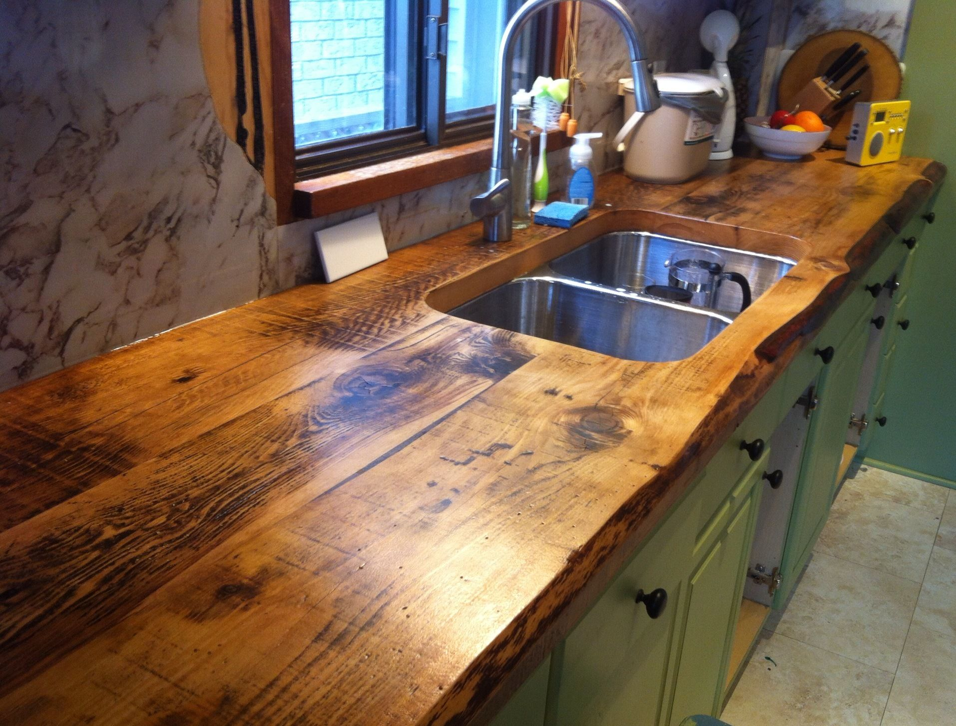 wooden kitchen countertops awesome live edge kitchen counter built with 2 inch thick hemlock floor boards by barnboardstore