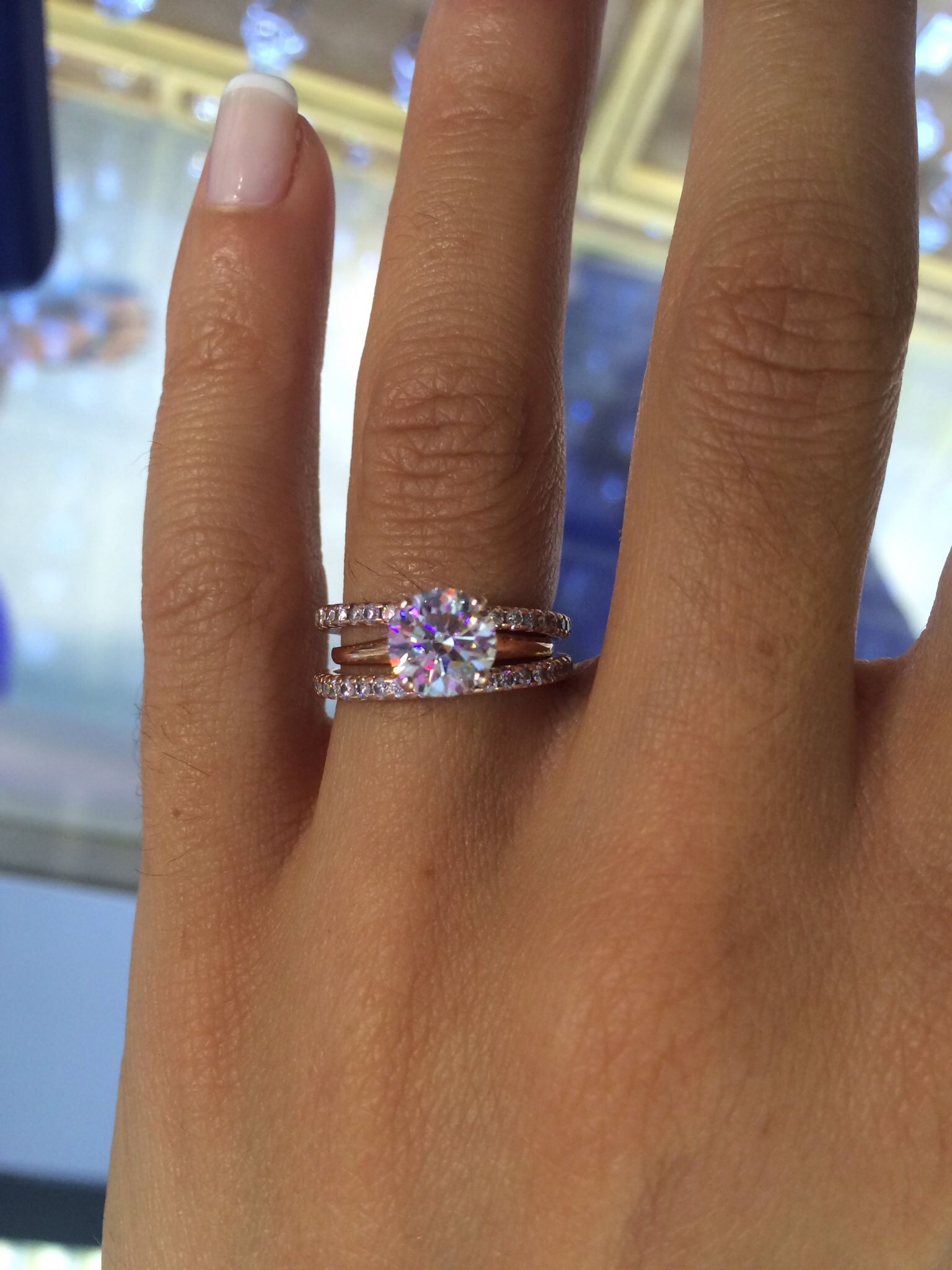 engagement wedding rings 1 21 ct E VVS2 diamond engagement ring set in rose gold with two