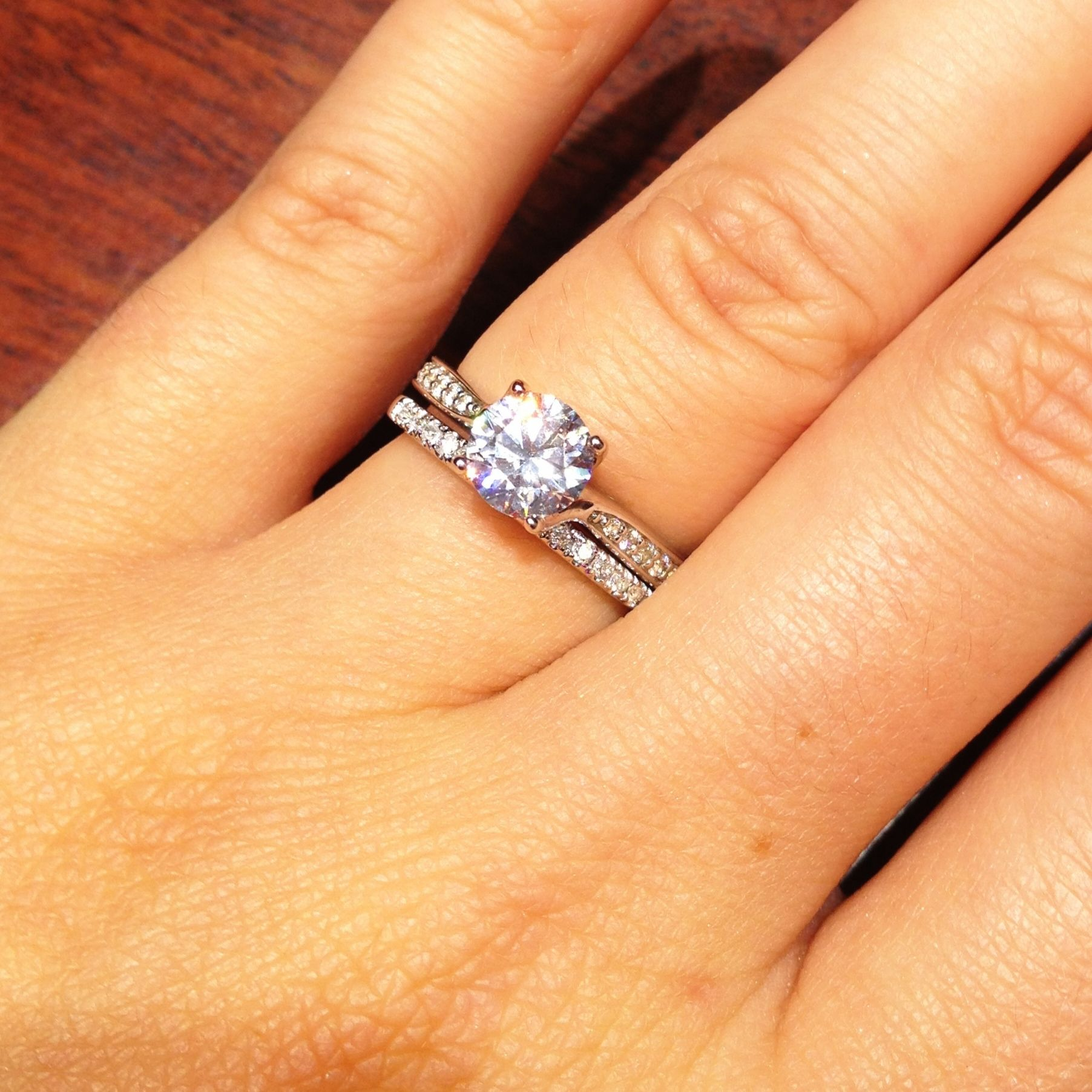 wedding ring and band 1 Carat Round Solitaire Engagement Ring Wedding Band