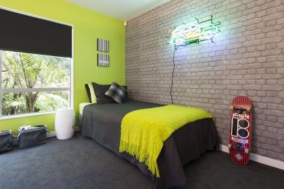 The final reveal! A zingy lime green wall teamed with cool ...