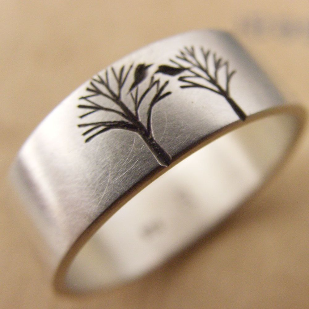 etsy wedding bands Wedding Band or Engagement Ring with Bird in a Tree Free Shipping 00 via