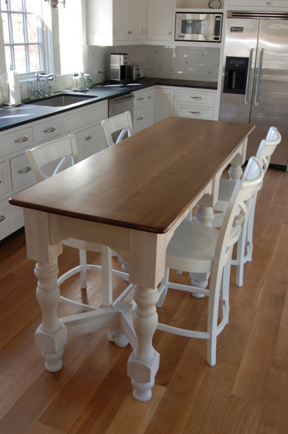 kitchen island tables Your small family could gather at dinner time happily around this narrow kitchen island