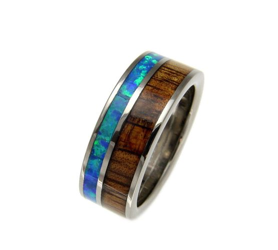 green mens wedding bands Qudus Mens Titanium Ring With Genuine Koa Wood Blue Green Opal Inlay Select Wedding Rings