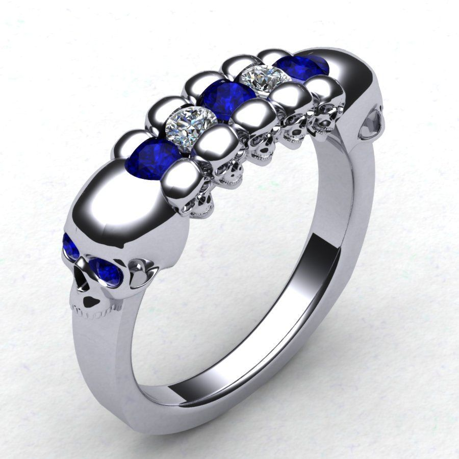 skull wedding ring With This Skull Wedding Band Men s Skull Ring Skeleton Ring Mens Diamond Skull Ring Blue Sapphire