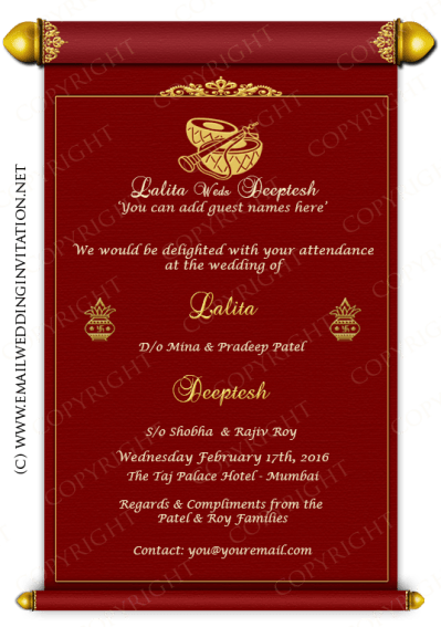 Single Page Email Wedding Invitation DIY Template - Indian ...