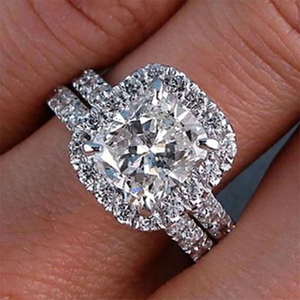 wedding ring bridal set 3 00 Carat GIA Cushion Cut Flawless Diamond Engagement Ring Bridal Set 18K Gold