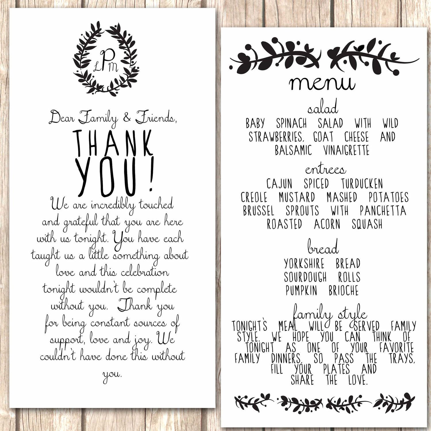 thank you cards wedding Whimsical Menu and Thank You Card for Wedding Dinner