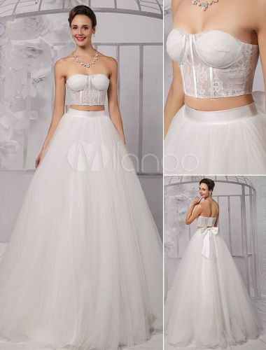 lace corset wedding dress Two Pieces Strapless Lace Corset Crop Top Ball Gown Wedding Dress With Tulle Skirt