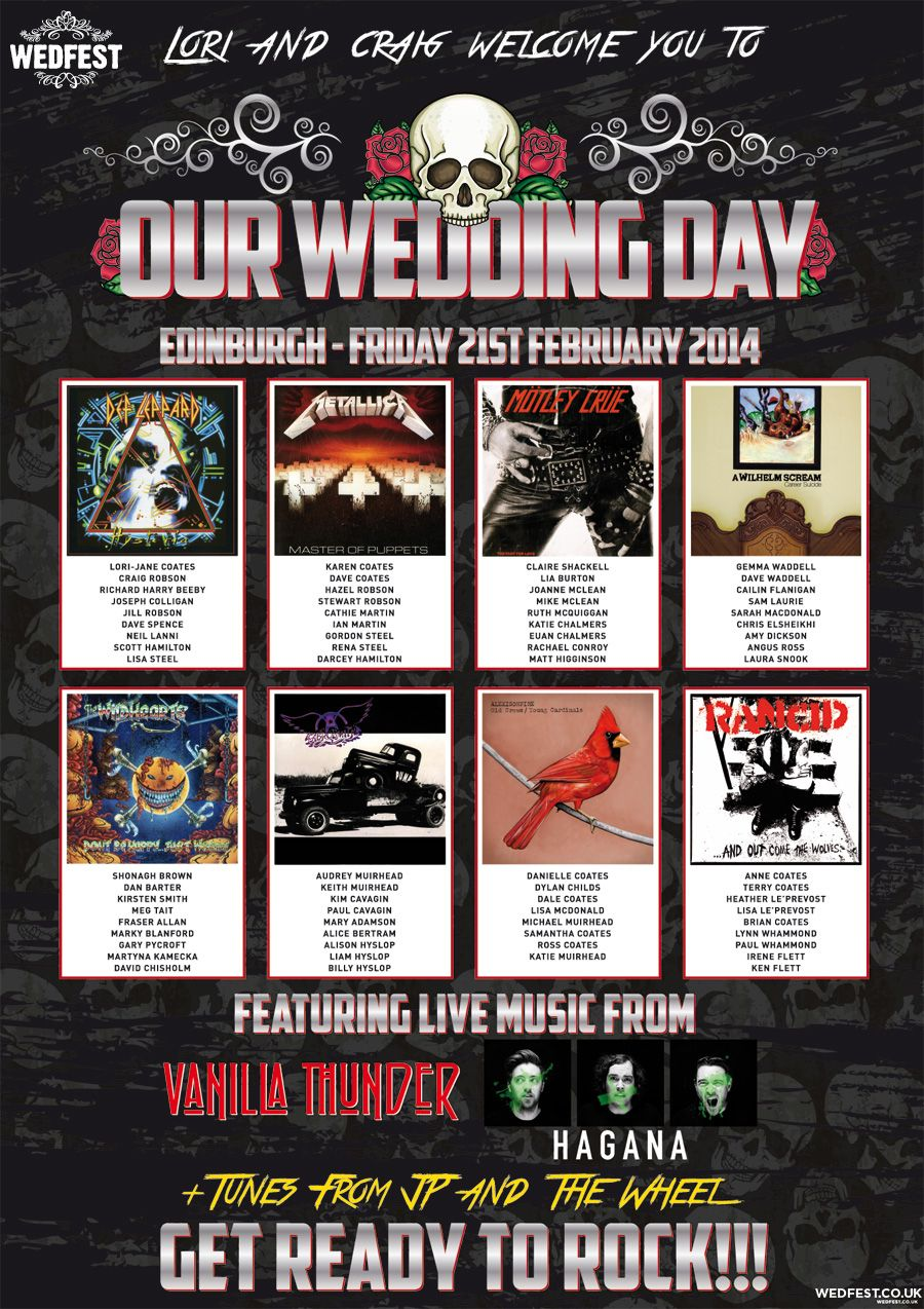 skull wedding invitations heavy metal wedding table seating plan http www wedfest co