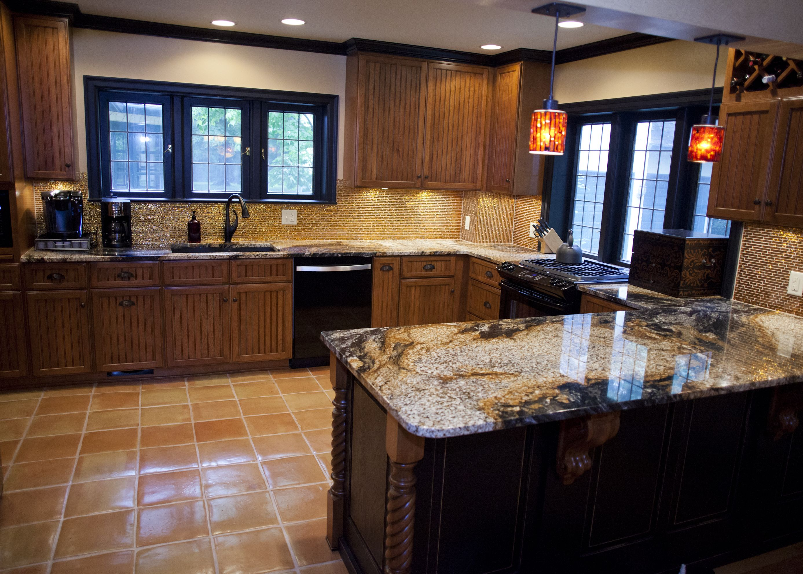 two toned cabinets two tone kitchen cabinets Two toned kitchen cabinets feature Pennington door style in Cherry with Rustic Pebble finish