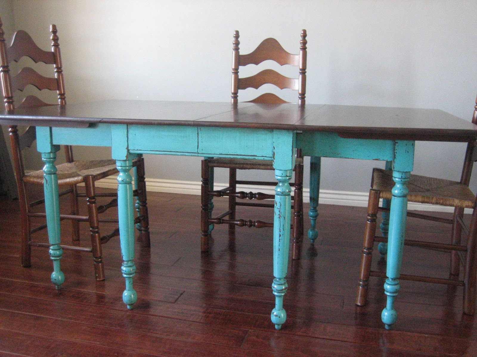 turquoise table painting kitchen table European Paint Finishes Teal Dining Table Ladderback Chairs