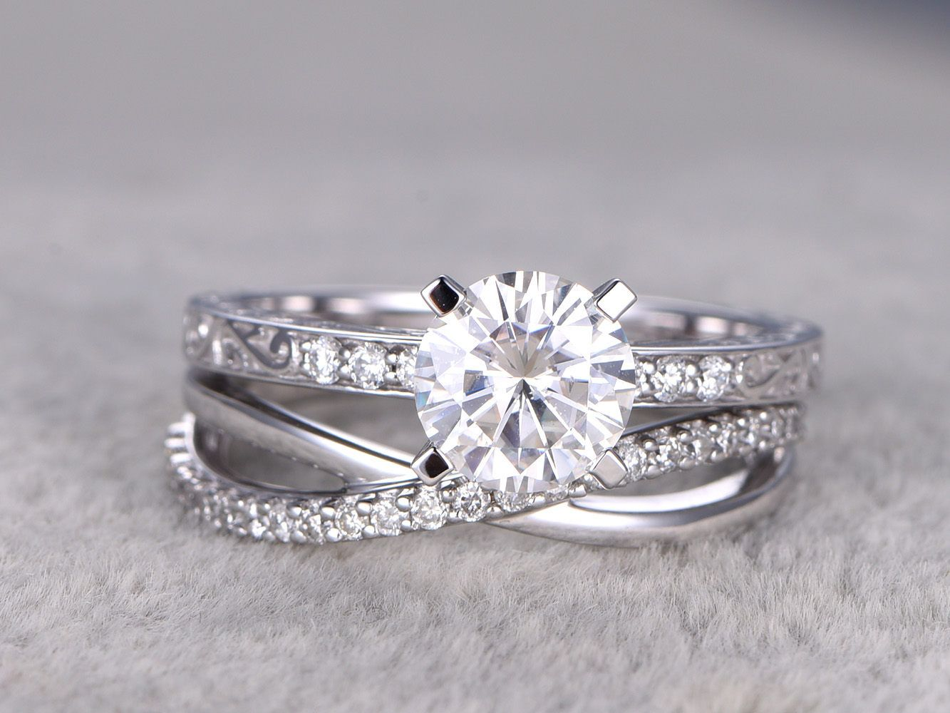 cross wedding bands 2 Moissanite Bridal Set Solitaire Engagement ring Criss Cross Wedding Band Diamond Filgree Floral style 14k White Gold 7mm Round Cut