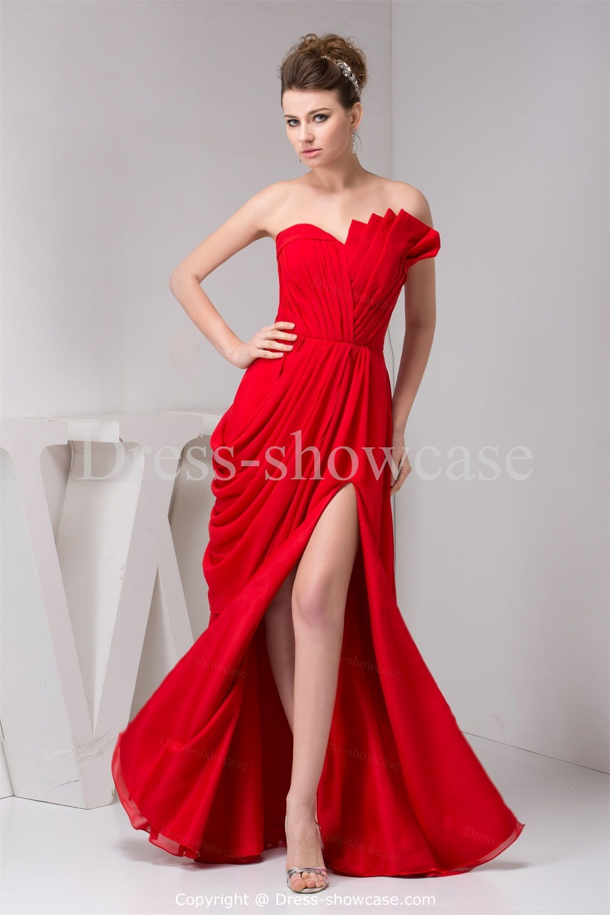 formal dresses for weddings prom dress prom dresses prom dress prom dresses a line chiffon scalloped natural waist floor length zipper sleeveless ruching split red prom dress