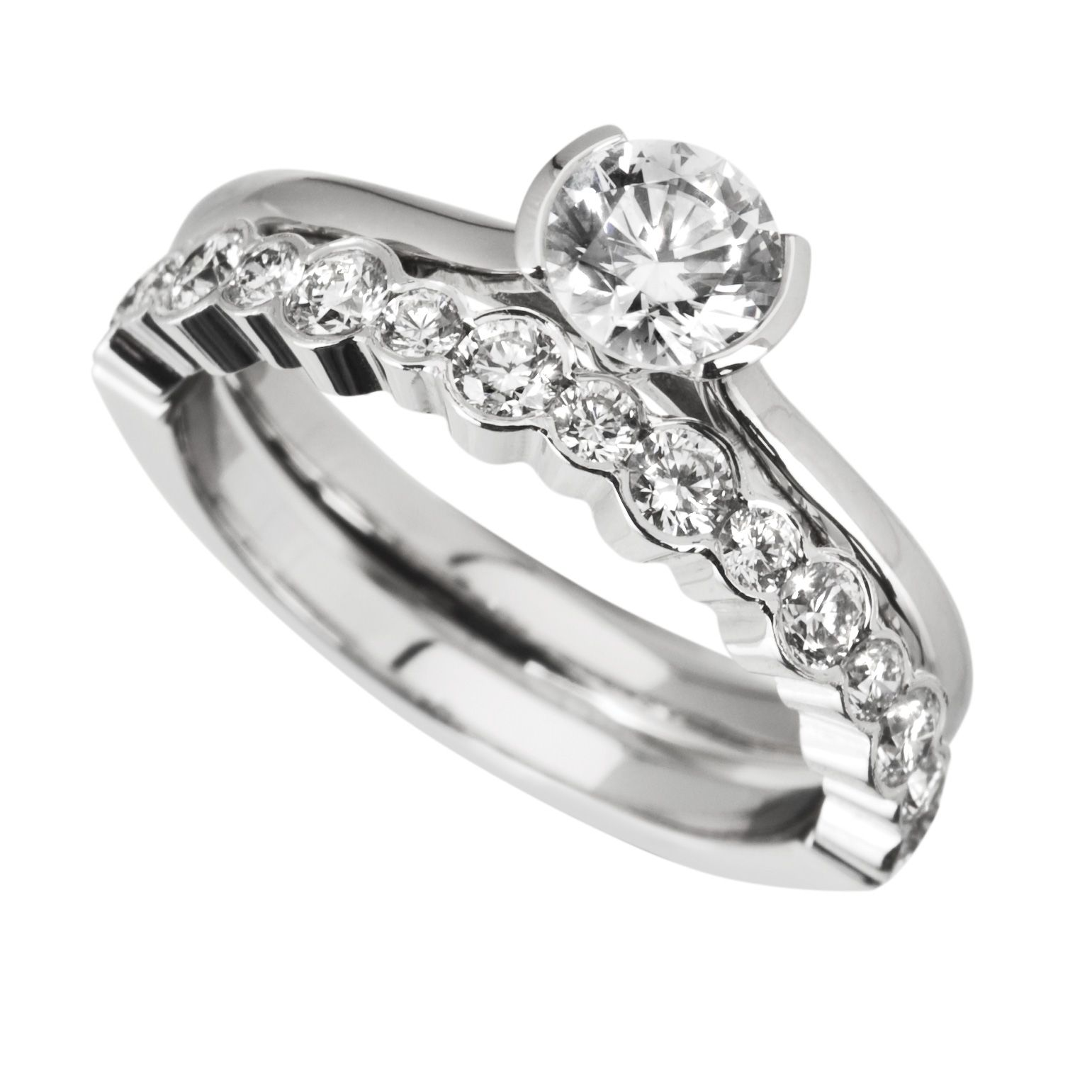 wedding rings sets images of wedding rings sets Rub Over Engagement Ring with Matching Diamond