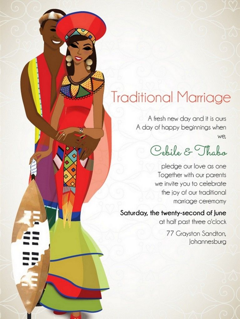 traditional wedding invitations South African wedding Invitations Traditional Africa weddings have lots of traditional food and incorporate lots of colour compared to the universal