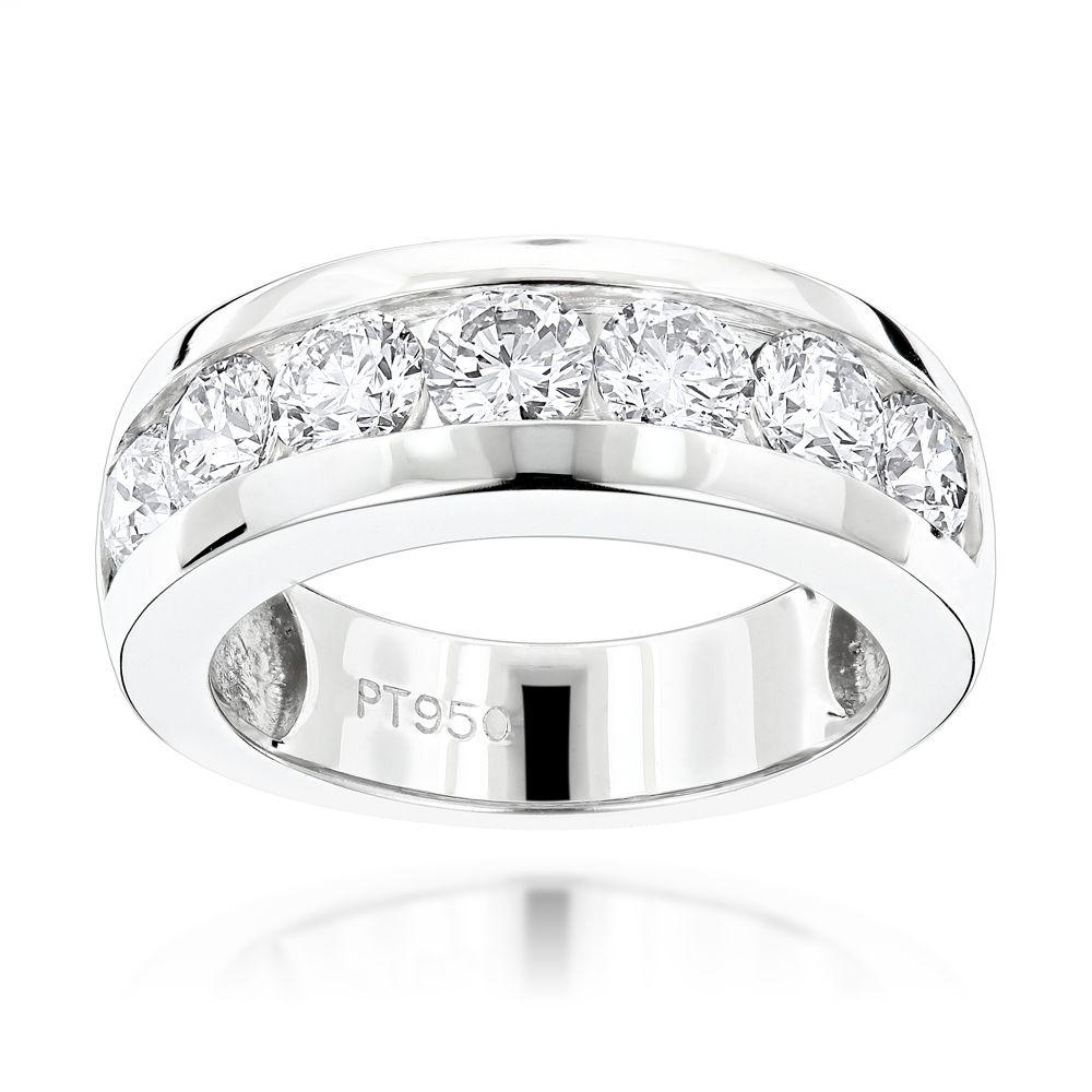 mens diamond wedding bands 7 Stone Round Diamond Bands Platinum Diamond Wedding Ring for Men 1 5ct