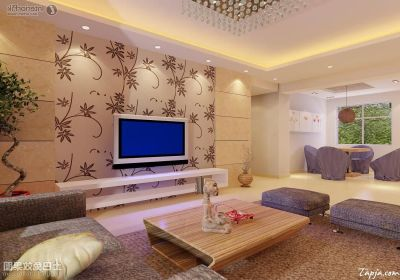 Fascinating Living Room Interior Decorating With Floral Wallpaper Behind Tv Wall Mounted As Well ...
