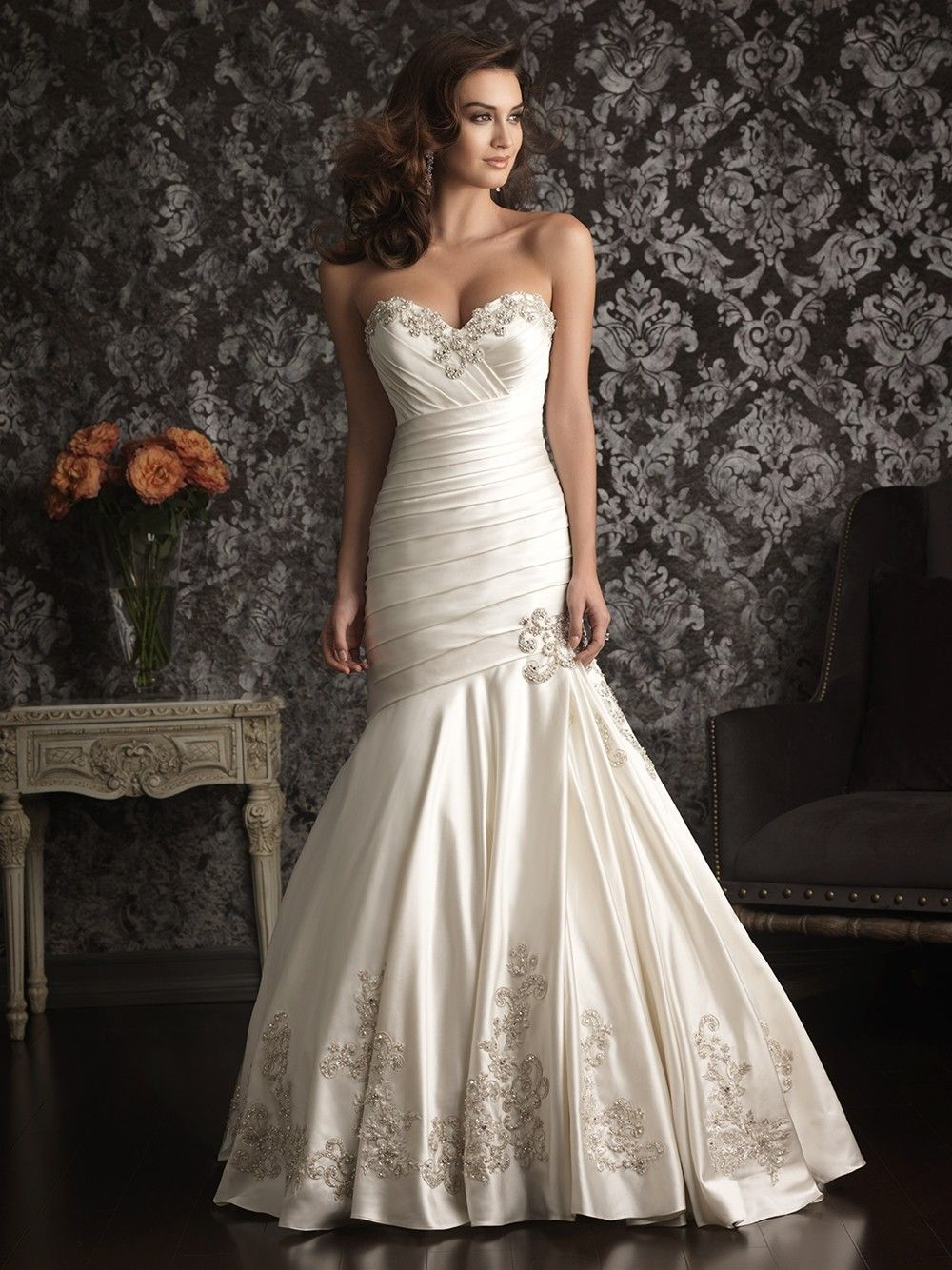 beaded wedding dress Mermaid Sweetheart Satin Ruched Wedding Dress With Embroidery Beading Crystals