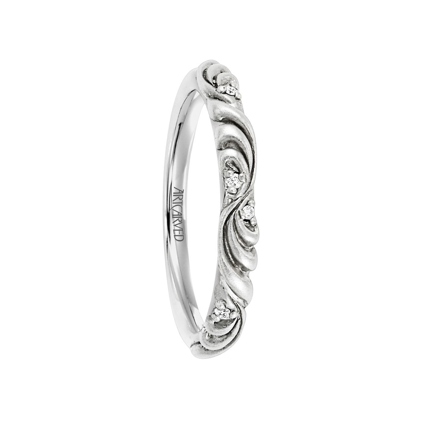 palladium wedding bands Artcarved Rings SUNRISE Womens Palladium Wedding Band with Floral Carving and Diamond Accents 3