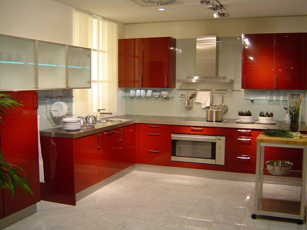 kitchen design a kitchen Modern White Themed Open Kitchen Plan Design with Stunning Red Scheme L Shaped Base Kitchen Cabinet