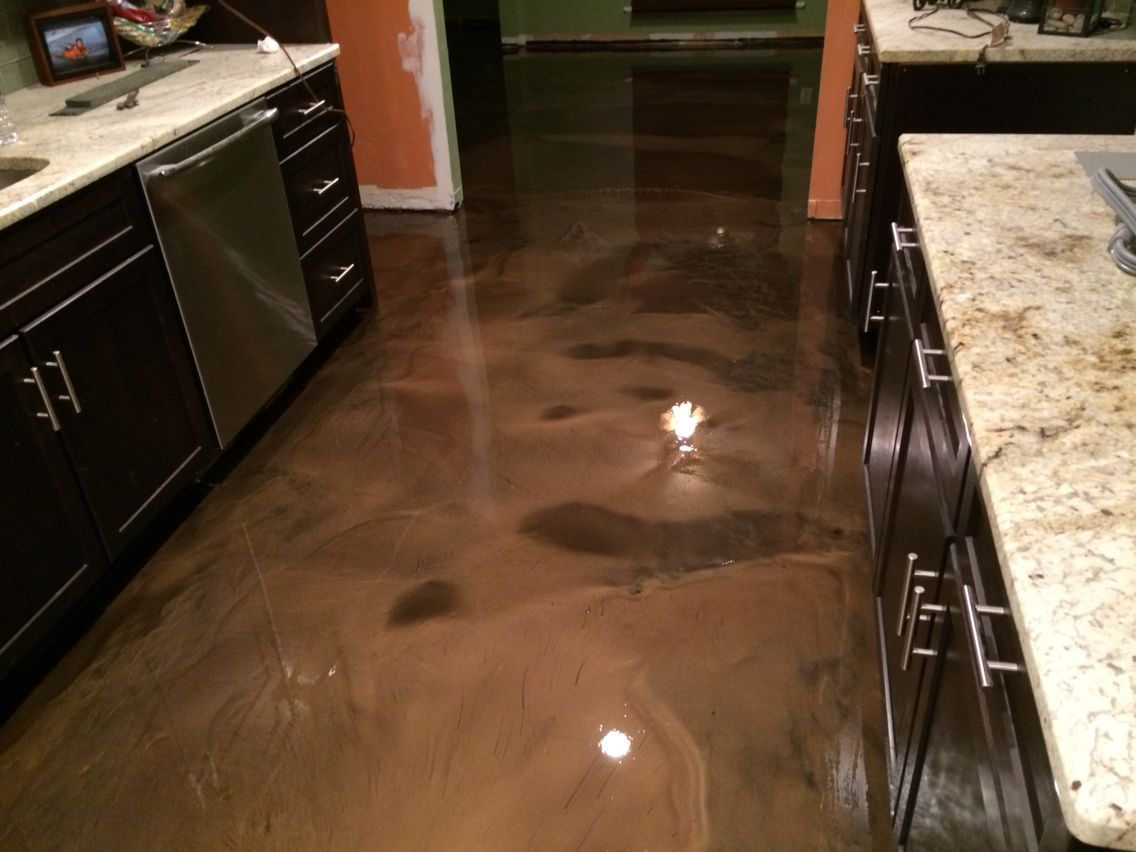 epoxy flooring kitchen Metallic epoxy floor in Coffee color Abilene Texas
