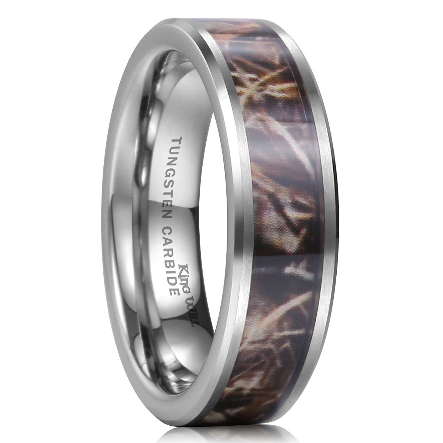 camo wedding bands King Will 8mm Camouflage Hunting Mens Tungsten Ring Camo Polished Wedding Band Trees Leaves