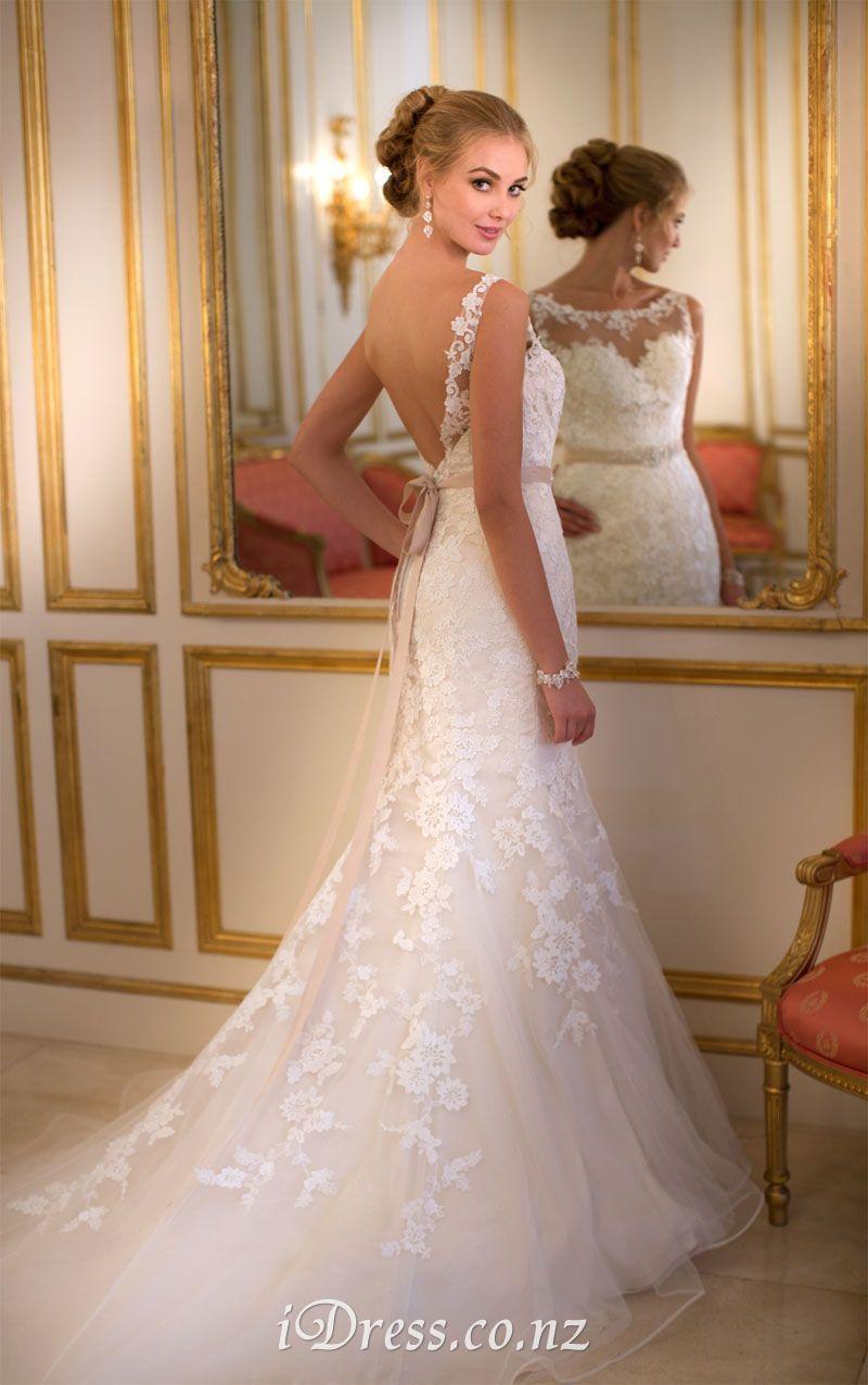 sheer lace wedding dress Mermaid Cap Sleeves Open V back Illusion Sheer Lace Wedding Dress