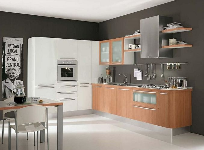 modern kitchen cabinets Modern White Wood Kitchen Cabinets Simple Design 6 On Living Room Simple Home Design