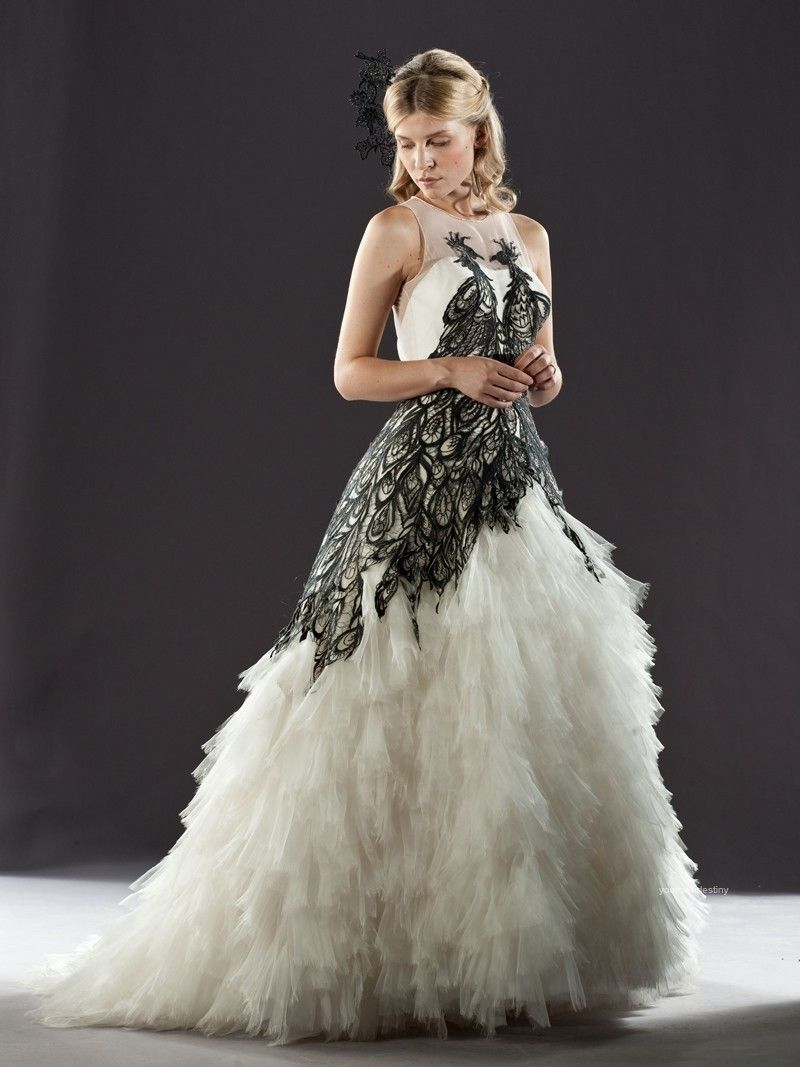 black white wedding dress Black and White Bridal Gowns image above strapless black and white wedding gown with