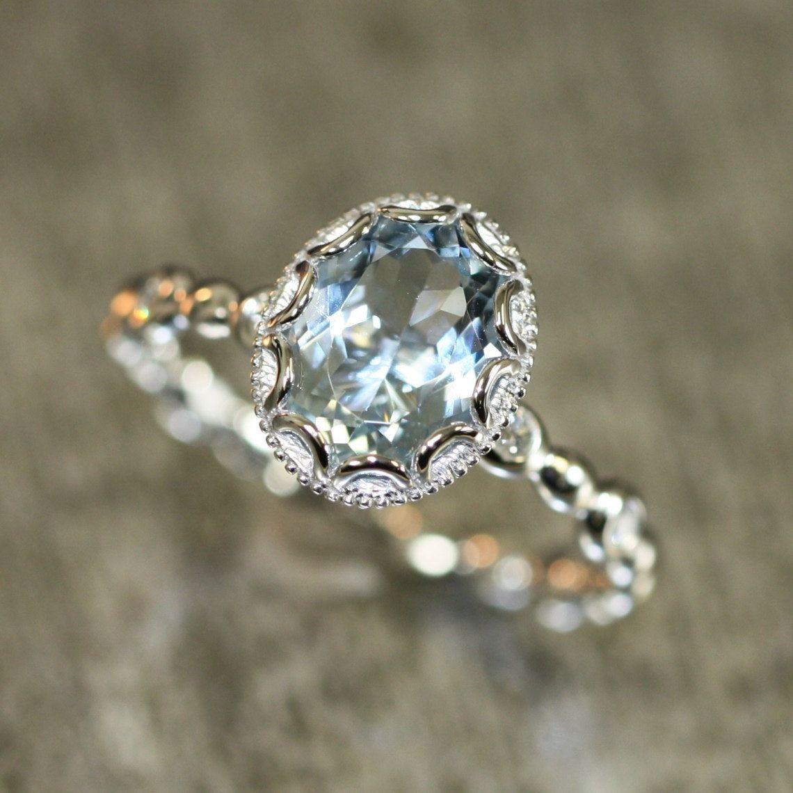 marine wedding rings Floral Aquamarine Engagement Ring in 14k White Gold Pebble Diamond Wedding Band mm Oval Aquamarine Ring March Birthstone Gemstone Ring