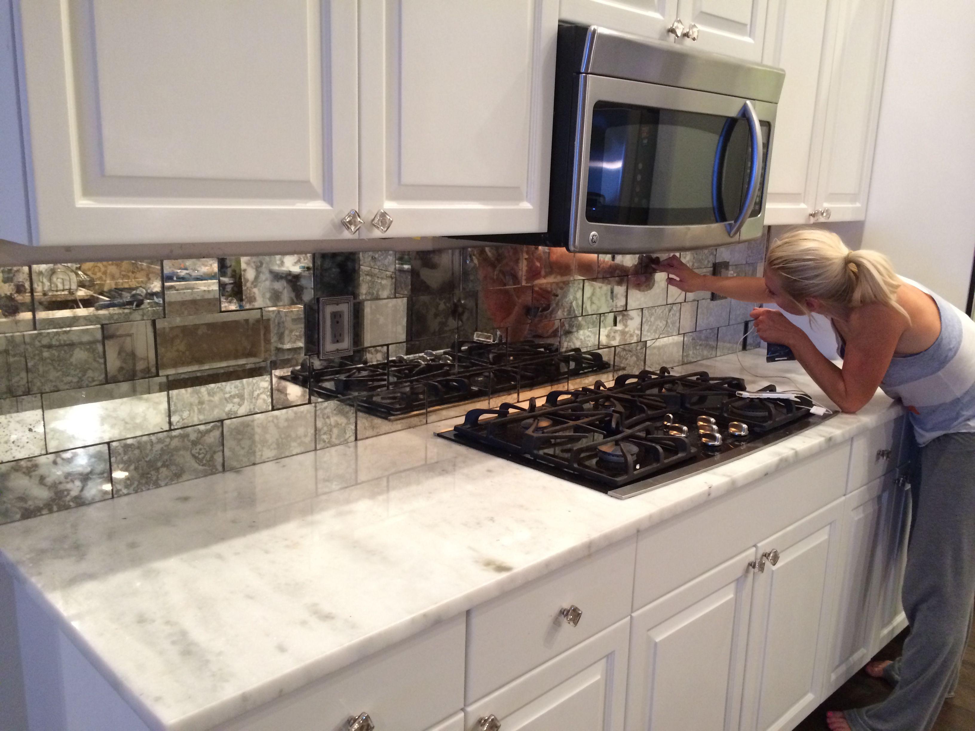 kitchen backsplash tiles mirror tile mirrored backsplash kitchen For the Home Pinterest Bar Tile and Love this