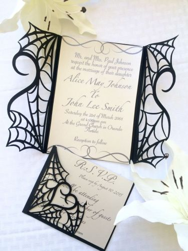 masquerade wedding invitations Gothic halloween wedding party invitation set on etsy would make great invites for spiderman themed