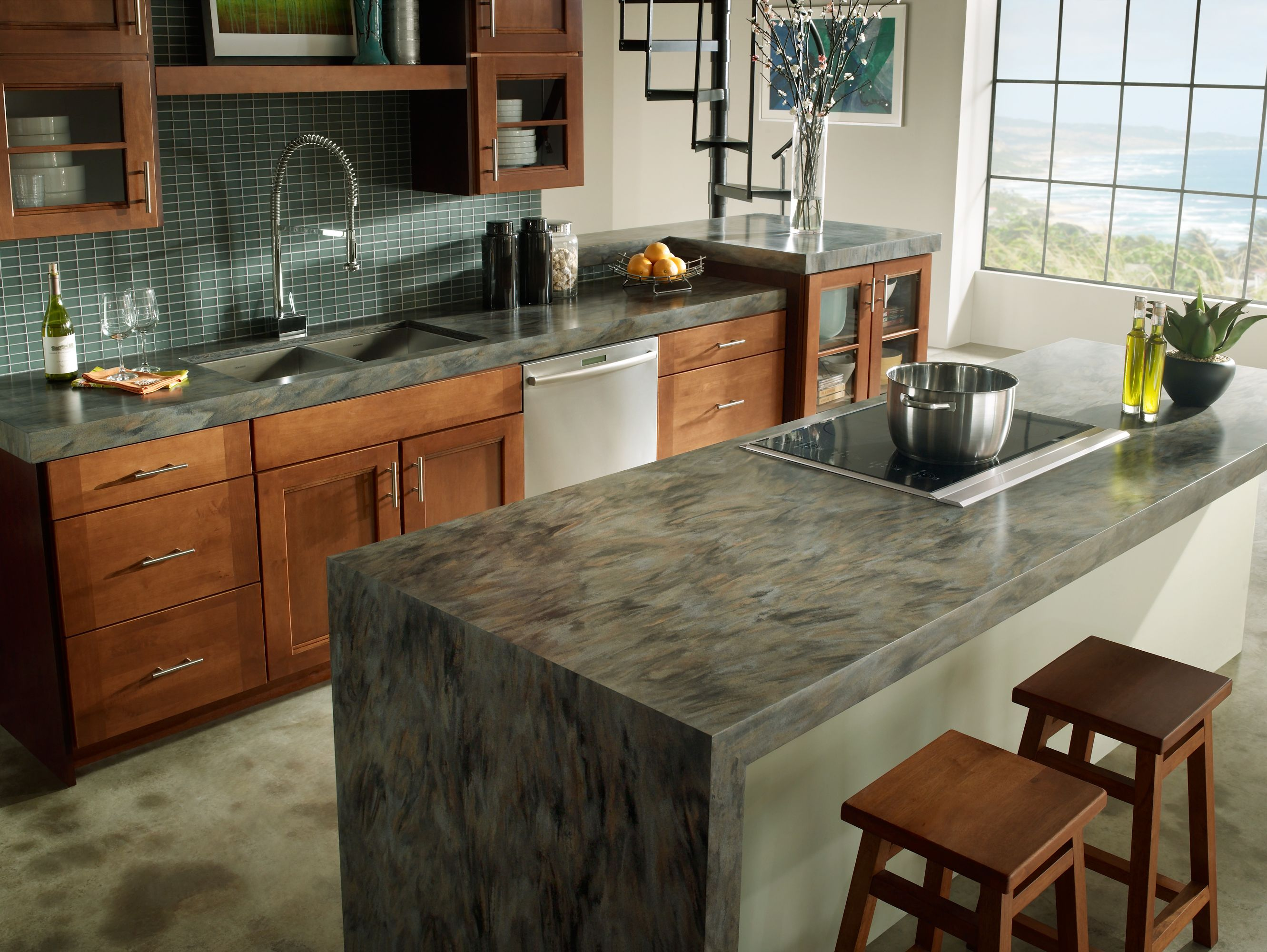 kitchen countertops kitchen countertops options Kitchen Attractive Gray Mosaic Kitchen Island Marble Countertop Along With Nice Kitchen Cabinet Decoration Best Choice For Kitchen Countertops Design Ideas