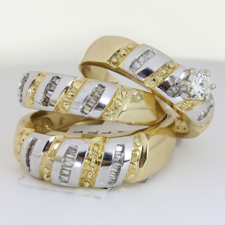 wedding rings sets unique engagement wedding ring sets 25ct TCW Wedding Ring Set in 18K Two Tone Gold