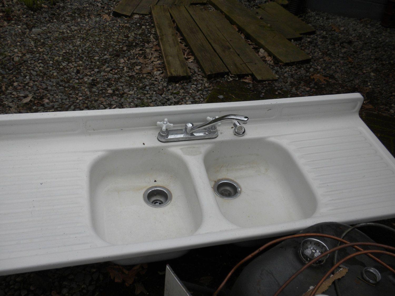 vintage kitchen sink Vintage Youngstown Double Bowl Double Drainboard Porcelain Sink