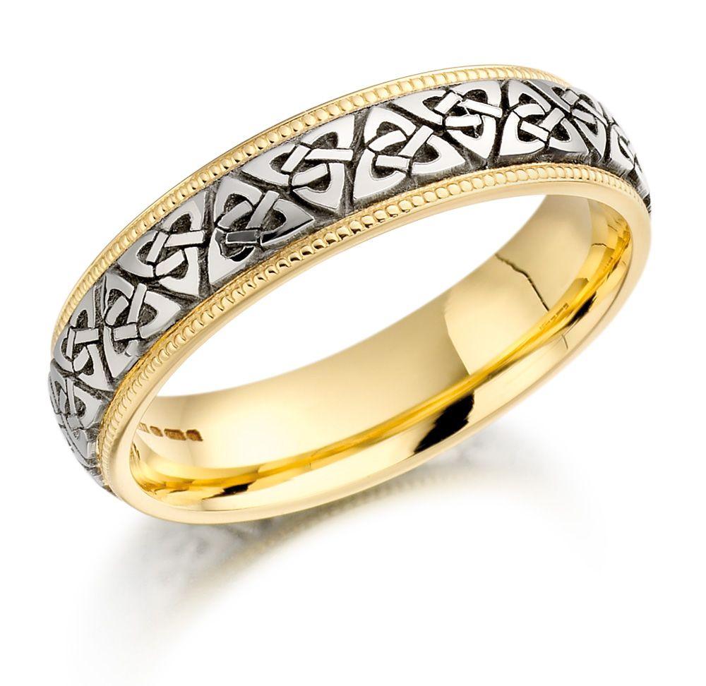 celtic wedding ring Trinity Knot Wedding Ring Ladies Two Tone Trinity Celtic Knot Irish Wedding Band
