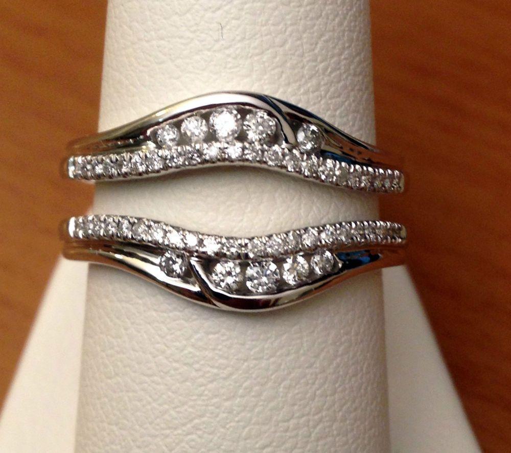 wedding band enhancers Solitaire Enhancer Round Diamonds Ring Guard Wrap 14k White Gold Wedding Band