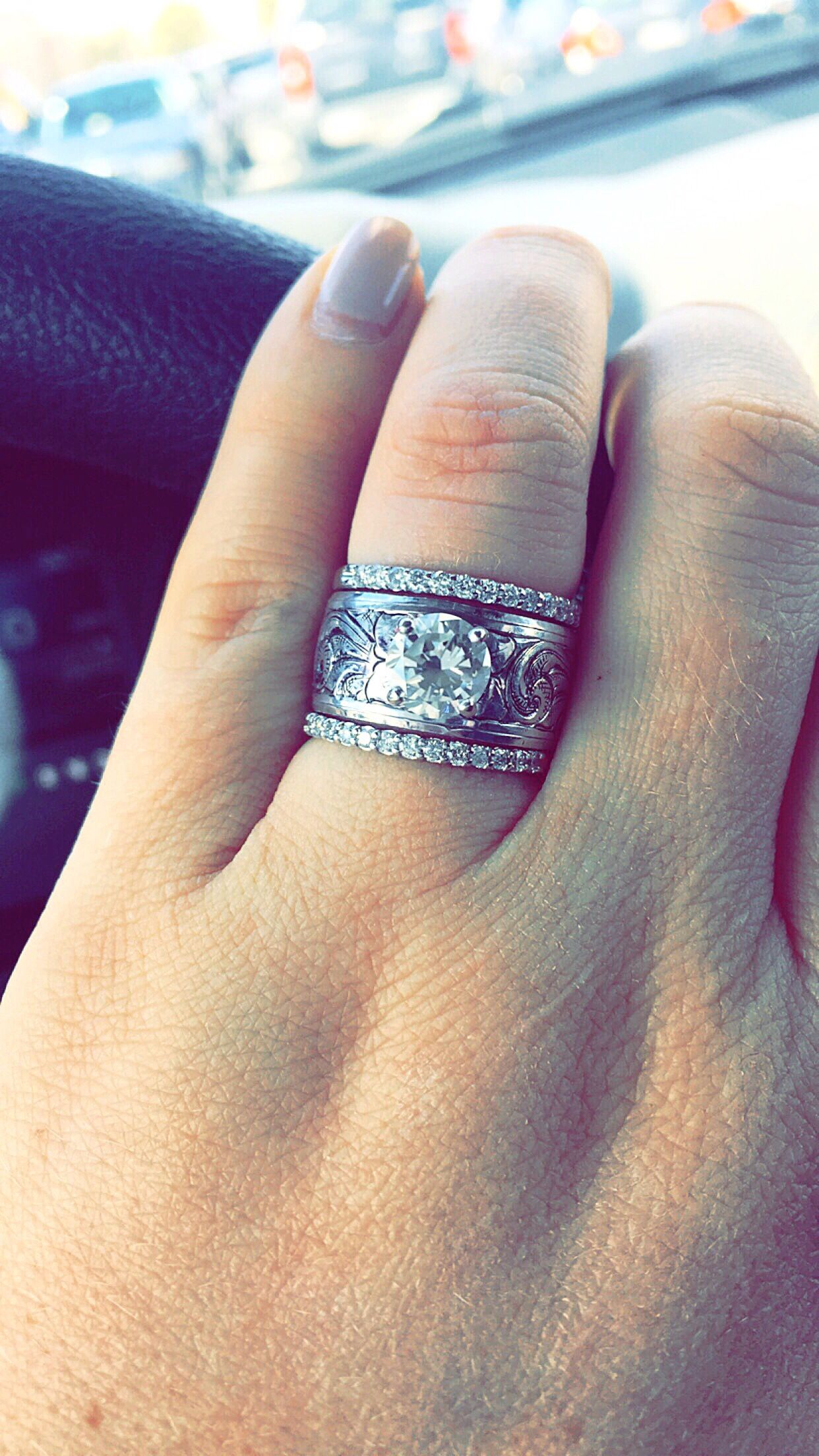 sports wedding bands Engagement ring and wedding bands engraving western engagementring
