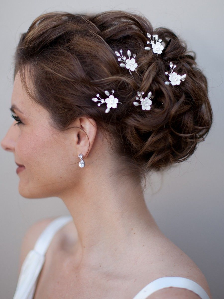 hair pieces for wedding Hair Comes the Bride Ceramic Flower Bridal Hair Pin Erica 19 00 http