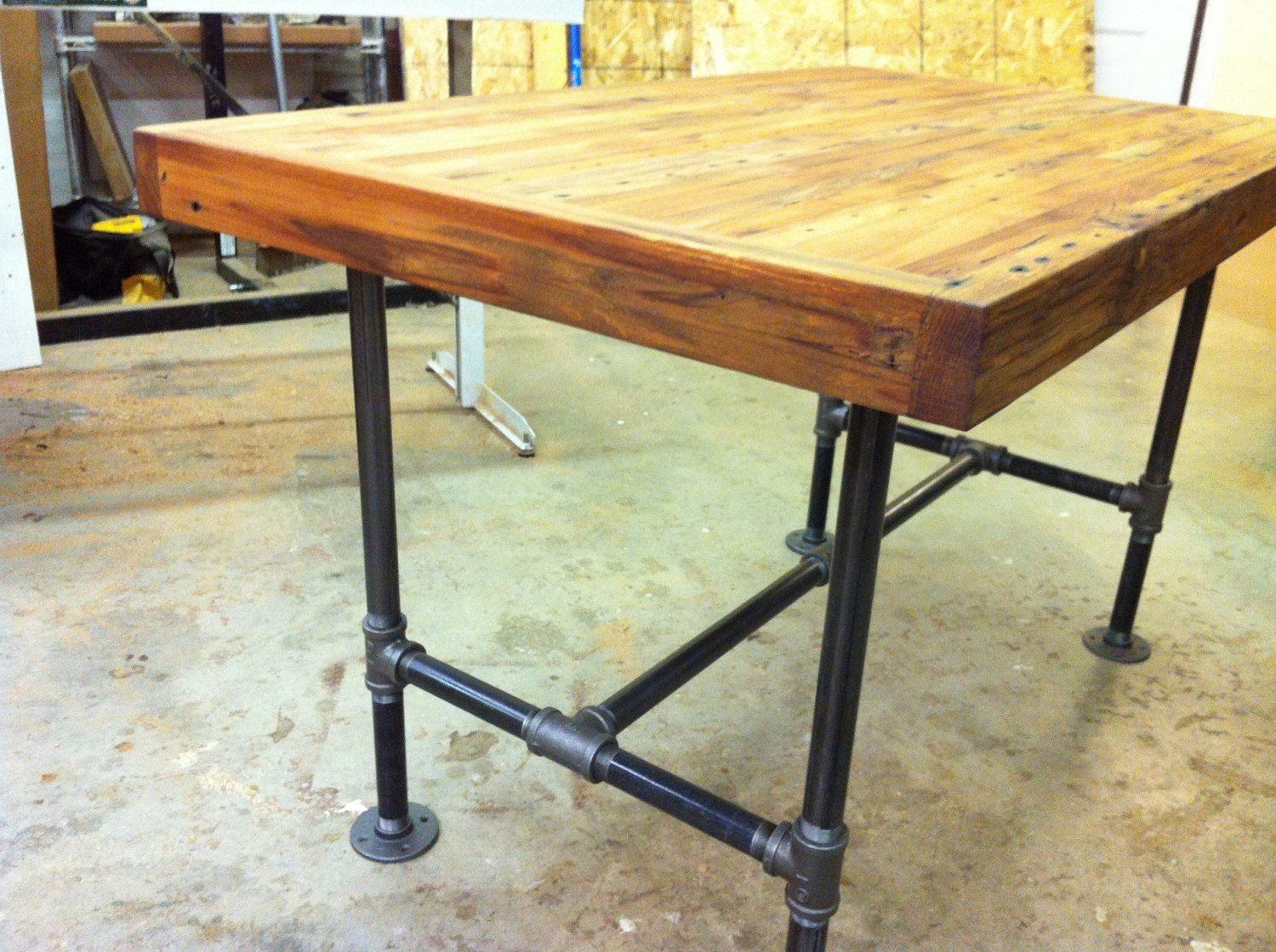 industrial kitchen table Reclaimed industrial kitchen island dining table featuring antique barnwood butcher block and steel pipe base