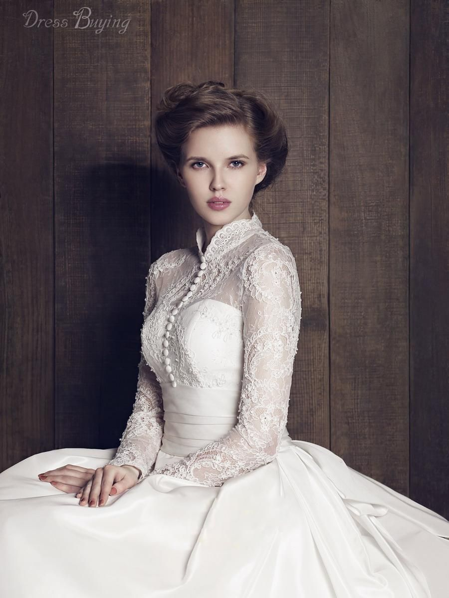 high neck wedding dress Classical High Neck Long Sleeves Lace A Line Plus Size Vintage Wedding Dress