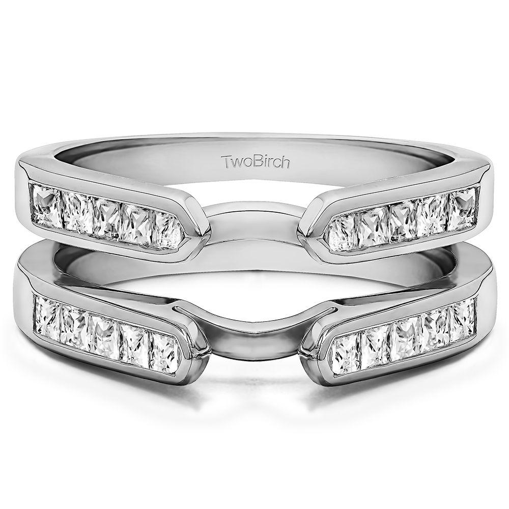 wedding band enhancers Channel Set Princess Cut Ring Guard Enhancer set in Solid 10 Karat