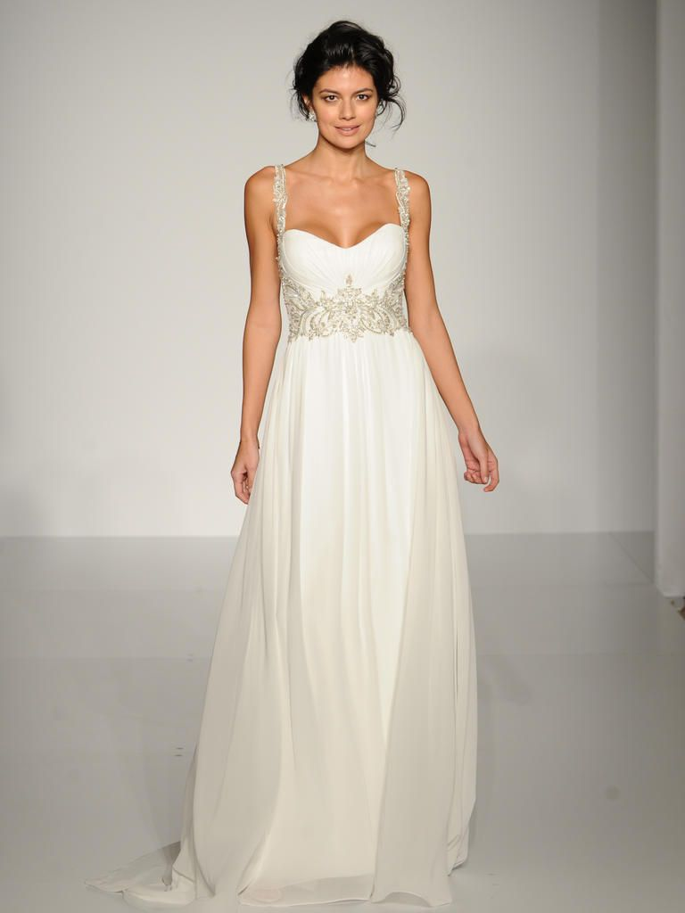 grecian wedding dress Maggie Sottero flowing chiffon Grecian wedding dress with beaded waist and straps