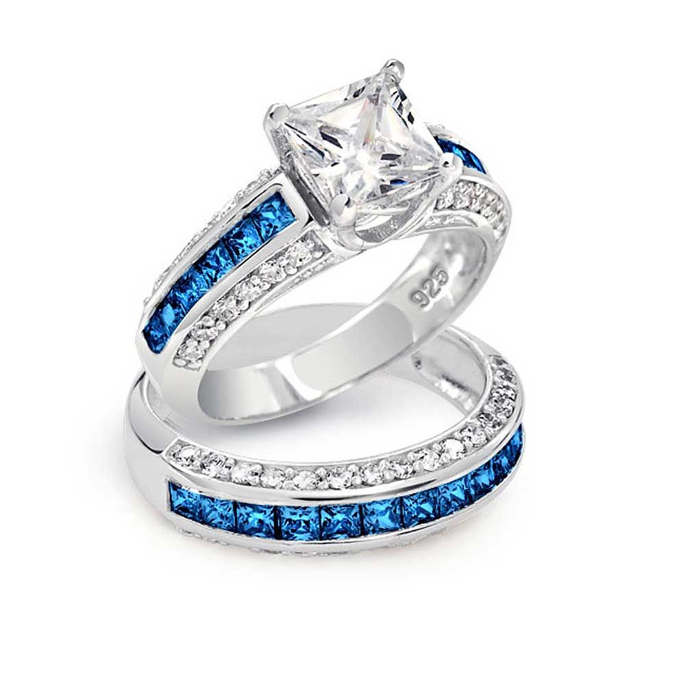 women wedding rings Blue Diamond Wedding Ring Sets Blue Diamond Engagement Rings Princess Cut Jewelry Gallery